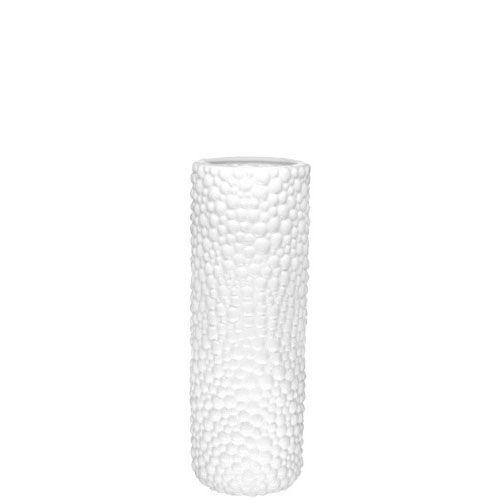 Белая ваза-цилиндр Eterna Этна керамическая фактурная глянцевая 37 см, фото