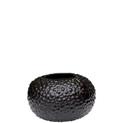 Круглая черная ваза Eterna Этна керамическая фактурная глянцевая большая, фото