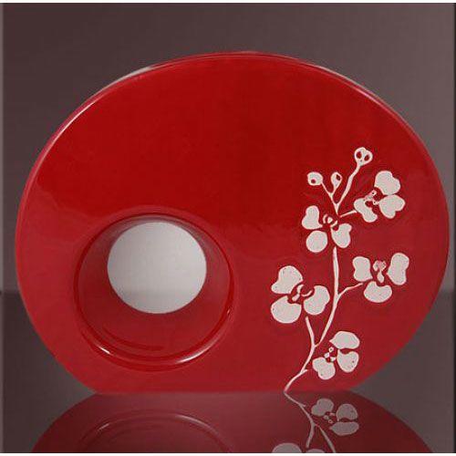 Ваза интерьерная Modern Art красная с узорами, фото