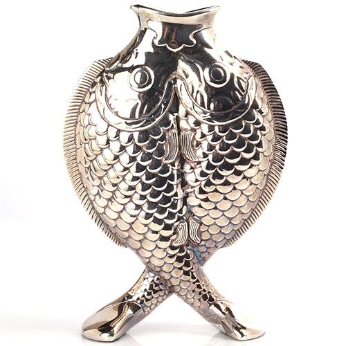 Посеребренная хрустальная ваза Christofle Рыбы, фото