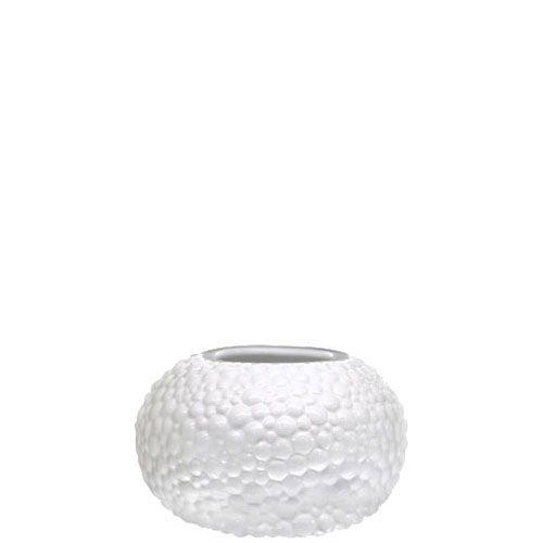 Круглая белая ваза Eterna Этна керамическая фактурная глянцевая малая, фото
