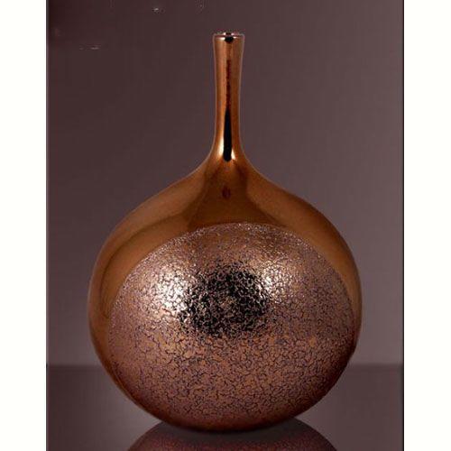 Ваза интерьерная Modern Art бронзовая круглая с высоким горлышком, фото