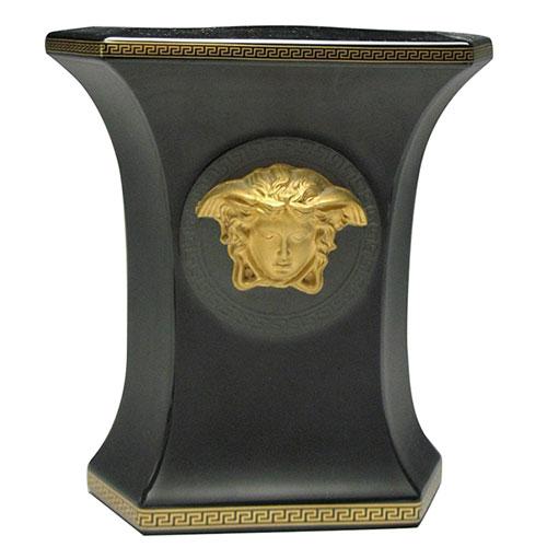 Черная ваза Rosenthal Versace Gorgona с золотой медузой, фото