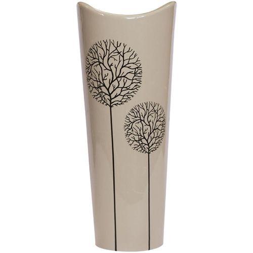 Серо-бежевая ваза Eterna Зимний Сад глянцевая керамическая 30 см с расширяющимся горлышком, фото
