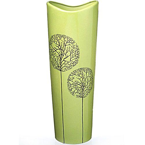 Высокая зеленая ваза Eterna Зимний Сад глянцевая керамическая 39 см с расширяющимся горлышком, фото