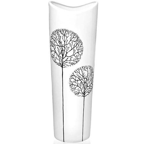 Белая ваза Eterna Зимний Сад глянцевая керамическая 39 см с расширяющимся горлышком для больших букетов, фото