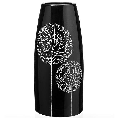 Черная ваза Eterna Зимний Сад глянцевая керамическая 27 см, фото