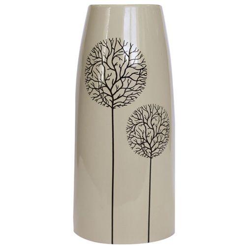 Бежевая ваза Eterna Зимний Сад глянцевая керамическая 27 см, фото