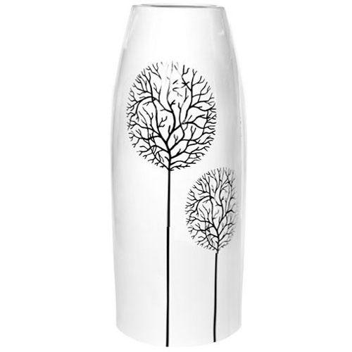 Белая ваза Eterna Зимний Сад узкая глянцевая керамическая 27 см, фото
