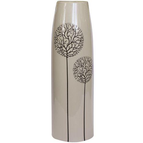 Высокая бежевая ваза Eterna Зимний Сад глянцевая керамическая 38 см, фото