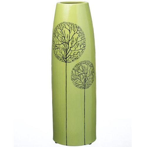 Высокая зеленая ваза Eterna Зимний Сад глянцевая керамическая 38 см, фото