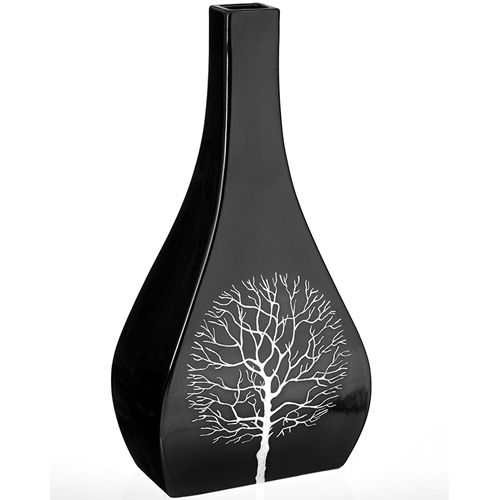 Керамическая черная ваза Eterna Зимний Сад большая фигурная с узким горлышком, фото