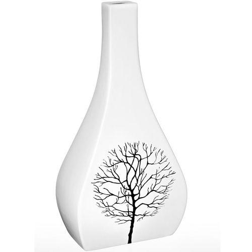 Керамическая белая ваза Eterna Зимний Сад большая фигурная с узким горлышком, фото