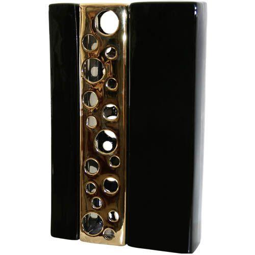 Ваза-декор Eterna прямоугольная вертикальная черная с золотым ажуром, фото