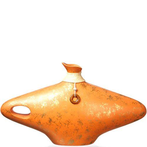 Ваза-декор Eterna 28 см из полистоуна мягкого оранжевого цвета с имитацией бечевки, фото