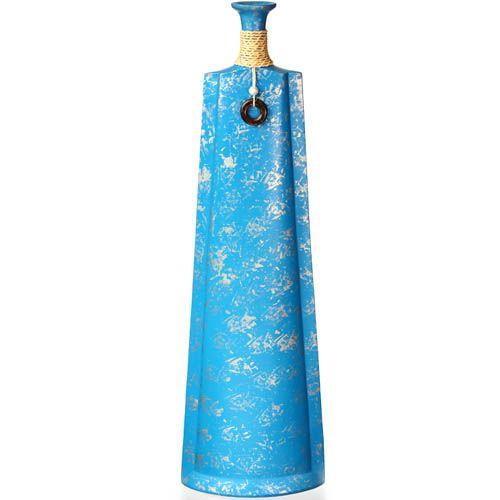 Голубая ваза-декор Eterna высокая 61 см из полистоуна с имитацией бечевки, фото