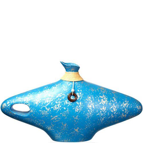 Голубая широкая ваза-декор Eterna 28 см из полистоуна с имитацией бечевки, фото