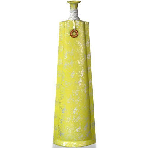 Желтовато-зеленая ваза-декор Eterna высокая 60 см из полистоуна с имитацией бечевки, фото
