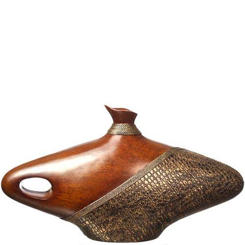 Широкая ваза-декор Eterna 27 см темно-коричневая под дерево и кожу, фото
