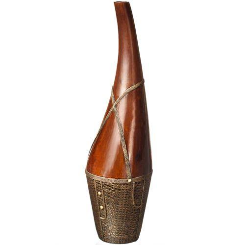 Ваза-декор Eterna 74 см в африканском стиле с имитацией дерева и фактуры кожи с оплеткой, фото