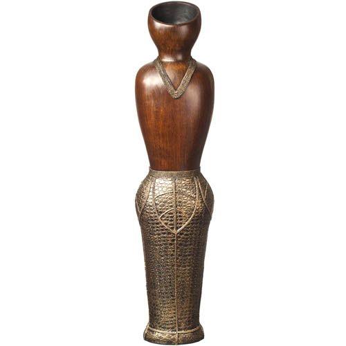 Ваза-силуэт Eterna 73 см в африканском стиле с имитацией дерева и фактуры кожи, фото