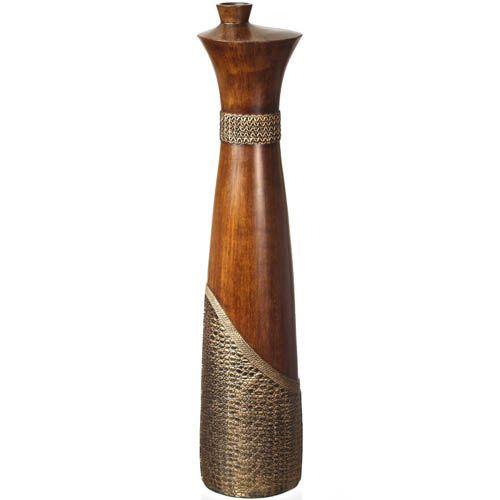 Ваза-декор Eterna 71 см с имитацией дерева и фактуры кожи с интересным горлышком, фото