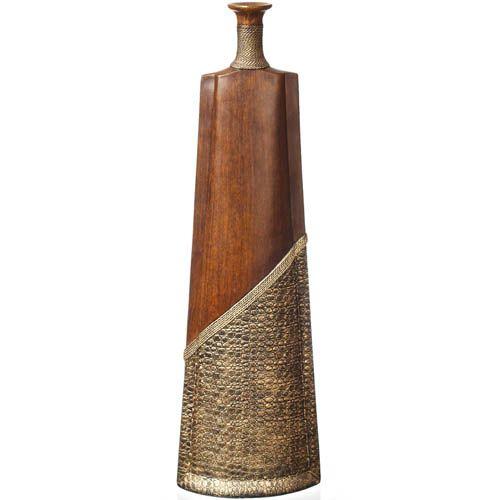 Ваза-декор Eterna 60 см в эко-стиле с имитацией дерева и фактуры кожи, фото