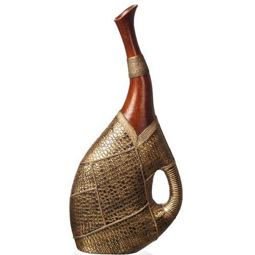 Ваза-декор Eterna 45 см с имитацией дерева и фактуры кожи, фото