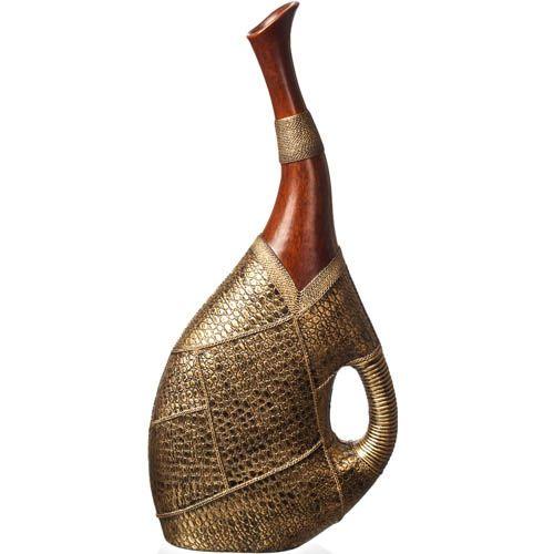 Большая ваза-декор Eterna 60 см с имитацией дерева и фактуры кожи, фото