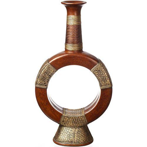 Большая ваза-декор Eterna 60 см в эко-стиле фигурная с имитацией дерева и фактуры кожи, фото