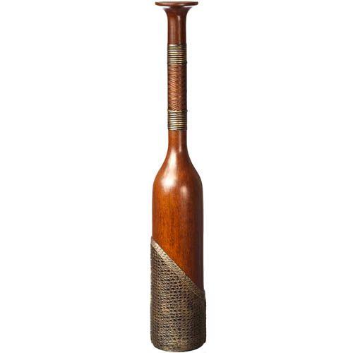 Напольная ваза-бутылка Eterna 91 см с имитацией дерева и и фактуры кожи, фото