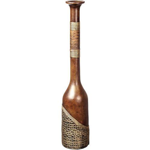 Декоративная ваза-бутылка Eterna 66 см с имитацией дерева и и фактуры кожи, фото