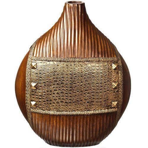 Ваза-декор Eterna 39 см с имитацией резного дерева и фактуры кожи с заклепками, фото