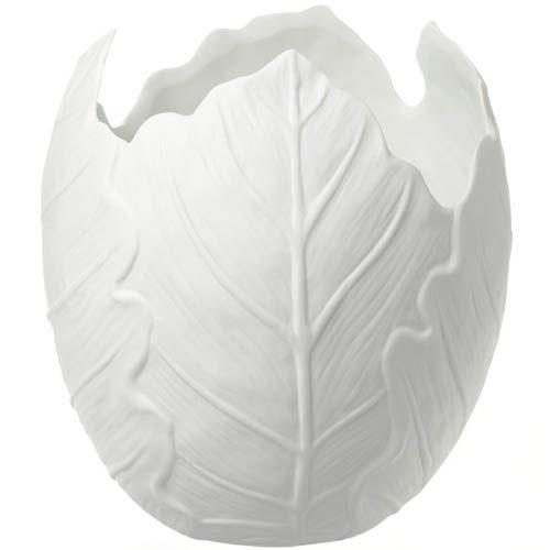 Белая широкая ваза Eterna в виже свернутых листьев керамическая матовая, фото