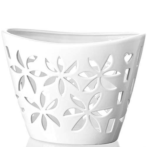 Белая ваза-декор Eterna Ажур глянцевая керамическая, фото