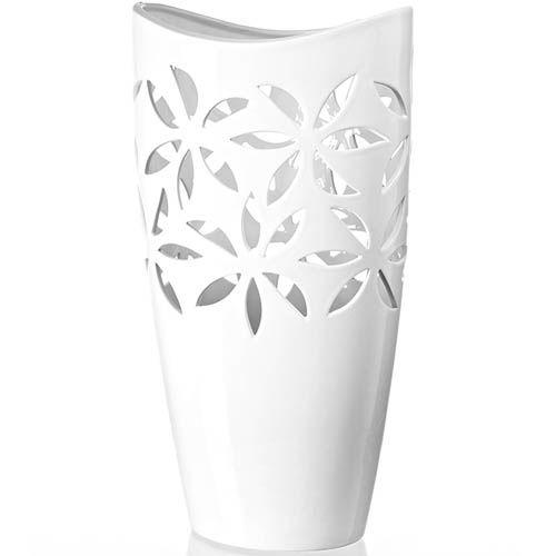 Белая ваза Eterna Ажур глянцевая керамическая высотой 37 см, фото