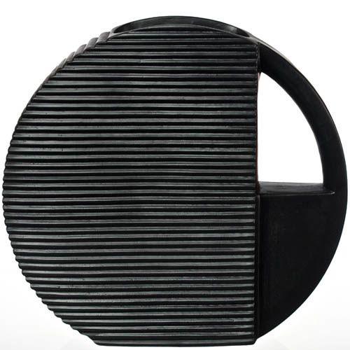 Круглая плоская ваза-декор с ручкой Eterna рельефная черная 33 см, фото