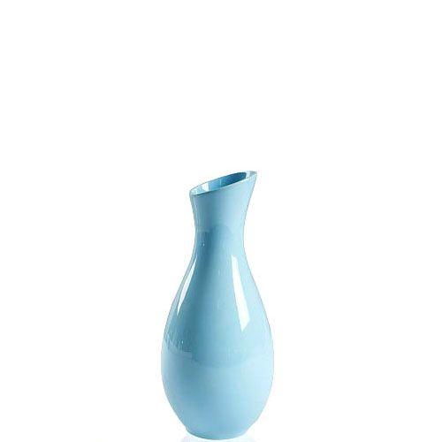Голубая глянцевая ваза Eterna Candy керамическая 20 см с узким горлом, фото