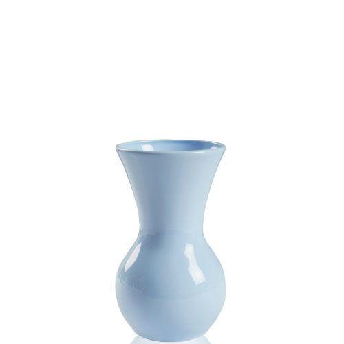 Голубая ваза Eterna Candy керамическая глянцевая 19 см с широким горлом, фото