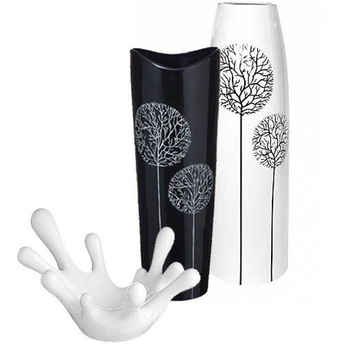 Набор Eterna Зимний сад черно-белый из двух ваз и фруктовницы, фото