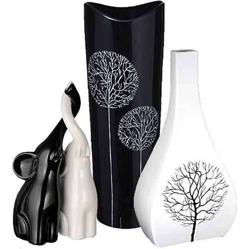 Подарочный набор Eterna Зимний сад черно-белый из двух ваз и статуэток слонов, фото