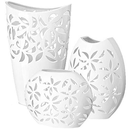 Набор Eterna Ажур из трех белоснежных ваз из глянцевой керамики, фото