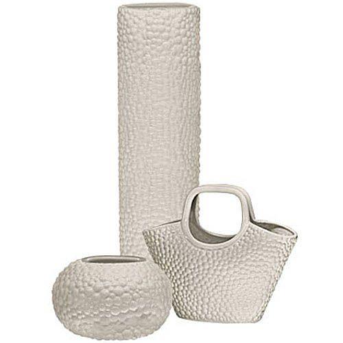 Набор Eterna Этна бежевый из высокой вазы, круглой вазы и вазы-декора в виде корзины, фото