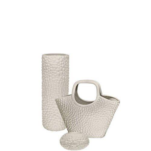 Набор Eterna Этна бежевый из вазы-колбы, подсвечника и вазы-декора в виде корзины, фото