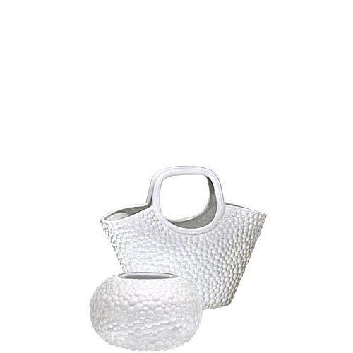 Набор Eterna Этна белый из круглой вазы и вазы-декора в виде корзины, фото