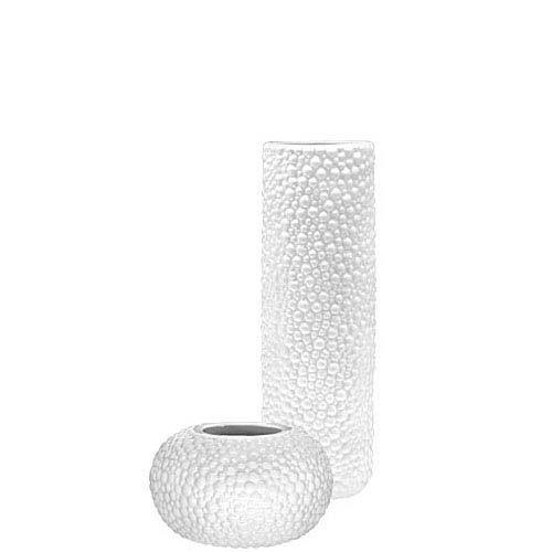 Набор Eterna Этна белый из высокой вазы-цилиндра и круглой вазочки, фото