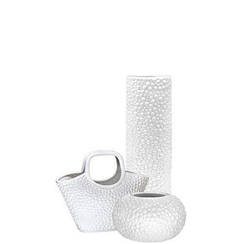 Набор Eterna Этна белый из высокой вазы, круглой вазы и вазы-декора в виде корзины, фото
