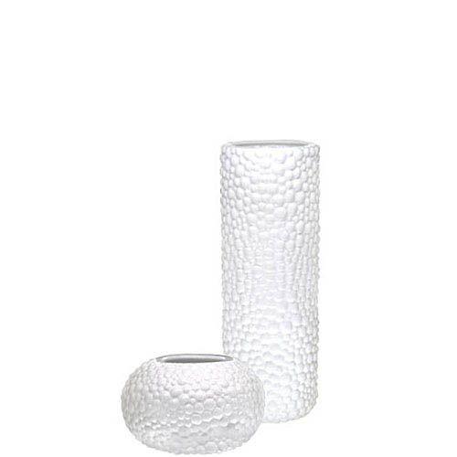 Набор Eterna Этна белый из вазы-цилиндра и круглой вазы, фото
