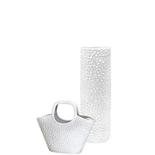 Набор Eterna Этна белый из высокой вазы и вазы-декора в виде корзины, фото