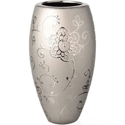Серебристая широкая ваза Eterna с рельефным изящным рисунком 22 см, фото